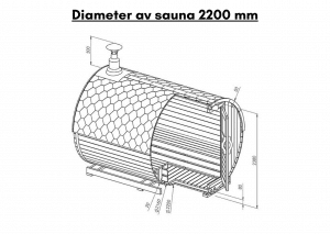 Diameter av sauna 2200 mm til tunsa badstuen