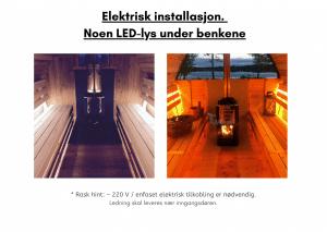 Elektrisk installasjon. Noen LED lys under benkene til tunsa badstuen
