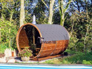 Udendørs sauna tønde i træ til haven, Ole, Nibe, Denmark (2)