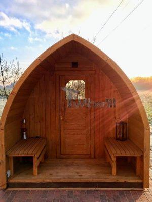 Utendørs trebastu for hage igloo design (6)