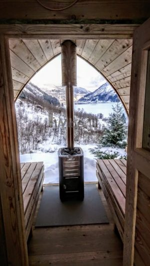 Utendørs trebastu for hage igloo design med fullt panoramavindue (12)