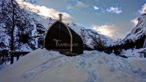 Utendørs trebastu for hage igloo design med fullt panoramavindue (2)