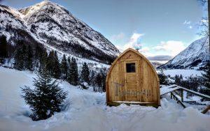 Utendørs trebastu for hage igloo design med fullt panoramavindue (3)