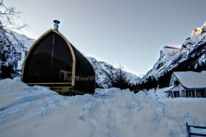 Utendørs trebastu for hage igloo design med fullt panoramavindue (6)