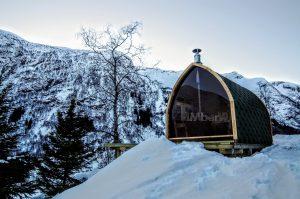 Utendørs trebastu for hage igloo design med fullt panoramavindue (7)