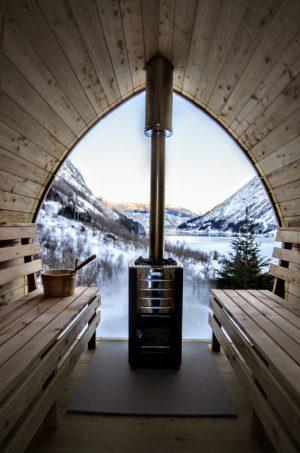 Utendørs trebastu for hage igloo design med fullt panoramavindue (8)
