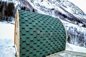 Utendørs trebastu for hage igloo design med fullt panoramavindue (9)