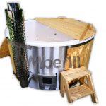 Badestamp i glassfiber med integrert ovn Sibirsk gran lerk TimberIN