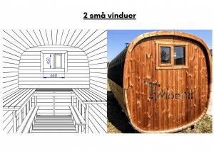 2 små vinduer for rektangulær badstue