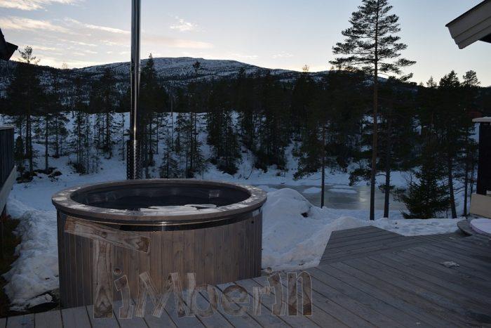 Badestamp i glassfiber med integrert ovn termo tre Wellness Royal, Gunnar, Kongsberg, NORWAY (1)
