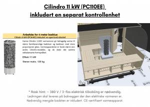 Cilindro 11 kW (PC110EE) inkludert en separat kontrollenhet for rektangulær badstue