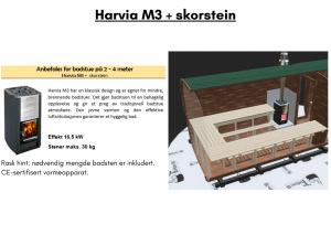 Harvia M3 + skorstein (allerede inkludert) for rektangulær badstue
