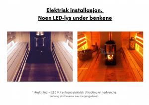 Noen LED lys under benkene for rektangulær badstue