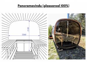 Panoramavindu (glassareal 100%) for rektangulær badstue