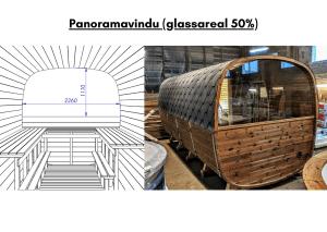 Panoramavindu (glassareal 50%) for rektangulær badstue