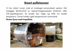 Smart pelletsovner for rektangulær badstue