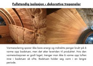 fullstendig isolasjon + dekorative trepaneler for rektangulær badstue