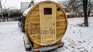 Utendørs fat sauna med trailer garderoben og vedovn (1)