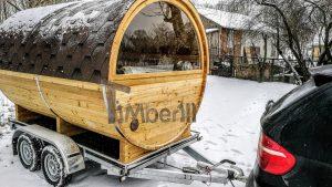 Utendørs fat sauna med trailer garderoben og vedovn (10)