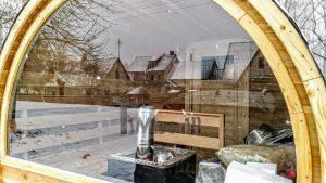 Utendørs fat sauna med trailer garderoben og vedovn (11)
