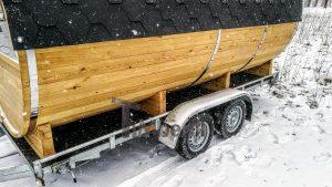 Utendørs fat sauna med trailer garderoben og vedovn (12)