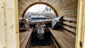 Utendørs fat sauna med trailer garderoben og vedovn (13)