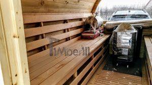 Utendørs fat sauna med trailer garderoben og vedovn (14)