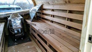 Utendørs fat sauna med trailer garderoben og vedovn (16)