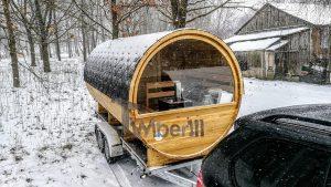 Utendørs fat sauna med trailer garderoben og vedovn (17)