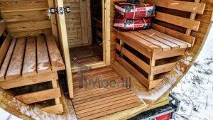 Utendørs fat sauna med trailer garderoben og vedovn (19)