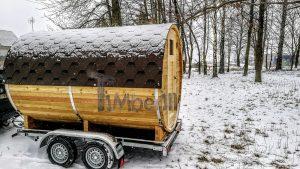 Utendørs fat sauna med trailer garderoben og vedovn (2)