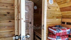 Utendørs fat sauna med trailer garderoben og vedovn (21)