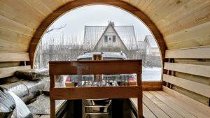 Utendørs fat sauna med trailer garderoben og vedovn (26)