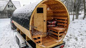 Utendørs fat sauna med trailer garderoben og vedovn (30)