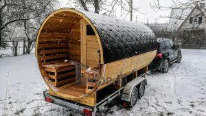 Utendørs fat sauna med trailer garderoben og vedovn (5)