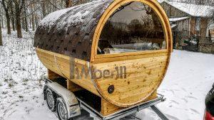 Utendørs fat sauna med trailer garderoben og vedovn (7)