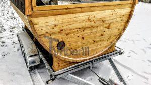 Utendørs fat sauna med trailer garderoben og vedovn (8)