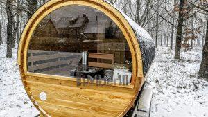 Utendørs fat sauna med trailer garderoben og vedovn (9)