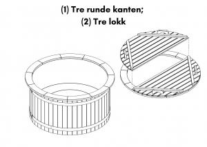 Vedfyrt elektrisk badestamp plast (1) Tre runde kanten; (2) Tre lokk