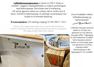 Vedfyrt elektrisk badestamp plast Luftbubbelsmassasystem (19)