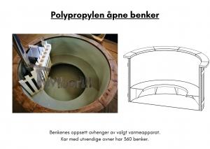 Vedfyrt elektrisk badestamp plast Polypropylen åpne benker (8)