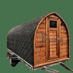 Utendørs igloo sauna med trailer garderoben og vedovn (1)