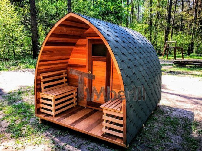 Utendørs elektrisk igloo sauna rød ceder (1)