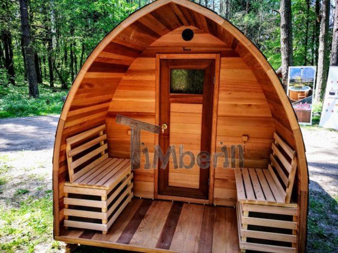 Utendørs elektrisk igloo sauna rød ceder (3)
