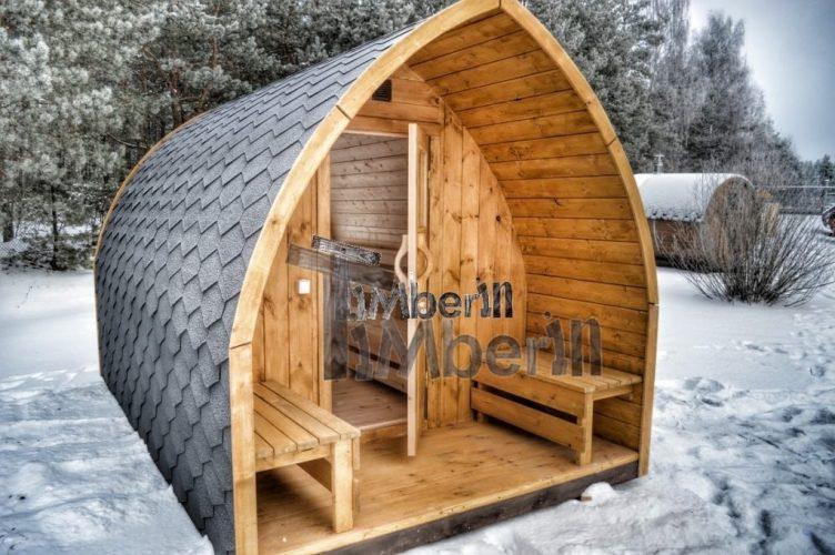 utendørs vedfyrt badstue Igloo type med veranda