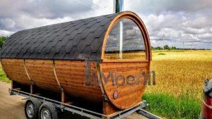 Vedfyrte utendørs mobil sauna med halv panoramavindue