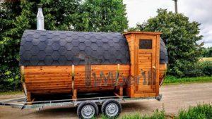 Vedfyrte utendørs mobil sauna med sidegang