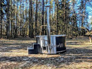 Badestamp i glassfiber med integrert ovn termo tre, sibirsk eik Wellness Scandinavia (11)