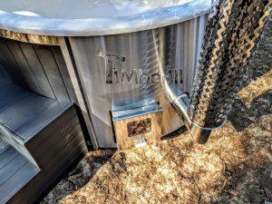 Badestamp i glassfiber med integrert ovn termo tre, sibirsk eik Wellness Scandinavia (13)