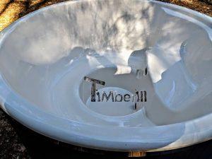 Badestamp i glassfiber med integrert ovn termo tre, sibirsk eik Wellness Scandinavia (18)